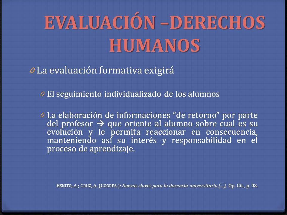 EVALUACIÓN –DERECHOS HUMANOS 0 La evaluación formativa exigirá 0 El seguimiento individualizado de los alumnos 0 La elaboración de informaciones de re