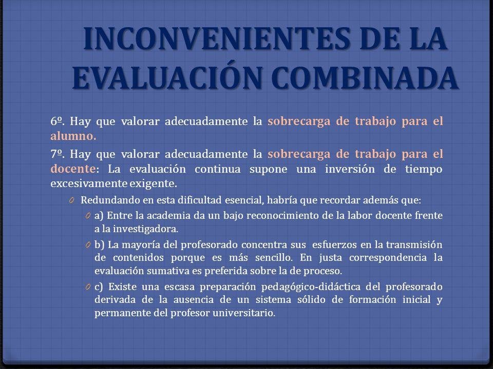 INCONVENIENTES DE LA EVALUACIÓN COMBINADA 6º. Hay que valorar adecuadamente la sobrecarga de trabajo para el alumno. 7º. Hay que valorar adecuadamente