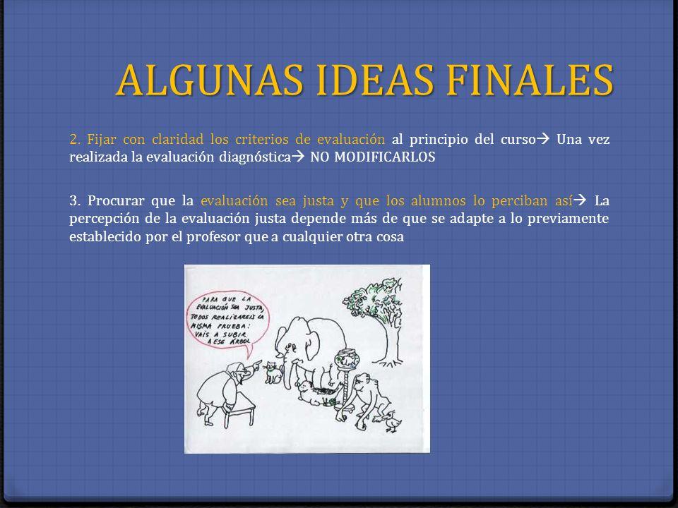 ALGUNAS IDEAS FINALES 2. Fijar con claridad los criterios de evaluación al principio del curso Una vez realizada la evaluación diagnóstica NO MODIFICA