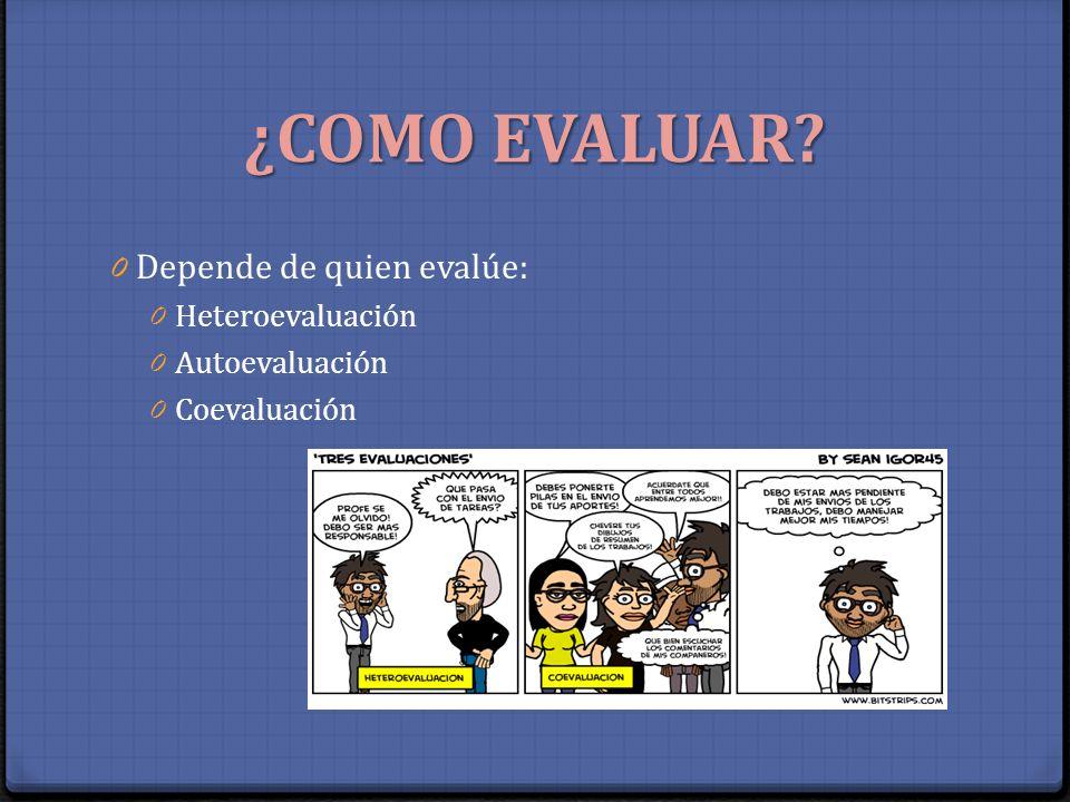 ¿COMO EVALUAR? 0 Depende de quien evalúe: 0 Heteroevaluación 0 Autoevaluación 0 Coevaluación
