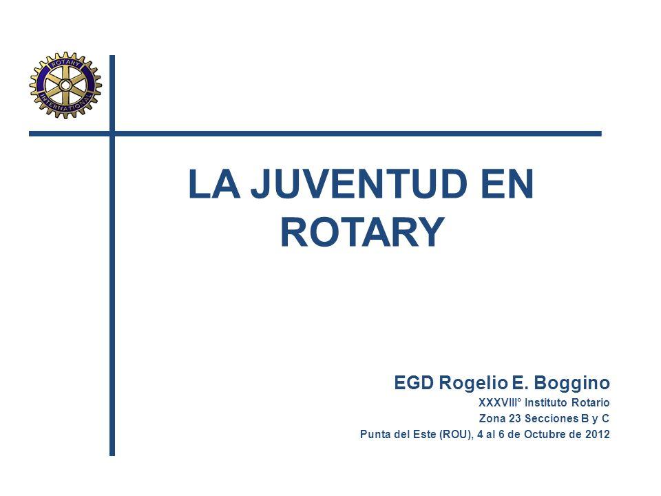 LA JUVENTUD EN ROTARY EGD Rogelio E. Boggino XXXVIII° Instituto Rotario Zona 23 Secciones B y C Punta del Este (ROU), 4 al 6 de Octubre de 2012