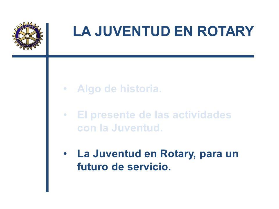 Algo de historia. El presente de las actividades con la Juventud. La Juventud en Rotary, para un futuro de servicio.