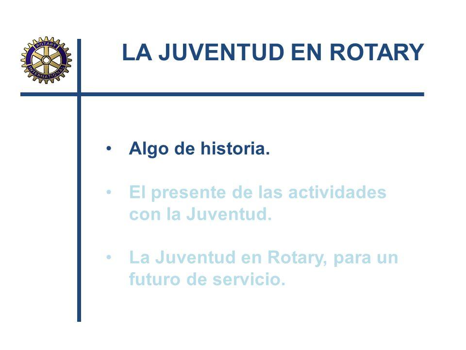 LA JUVENTUD EN ROTARY Algo de historia. El presente de las actividades con la Juventud. La Juventud en Rotary, para un futuro de servicio.