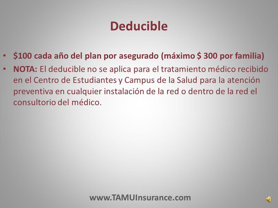 Red De Proveedores Preferidos 100% el pago de los gastos médicos cubiertos incurridos en el Centro de Salud Estudiantil 100% del pago para la atención