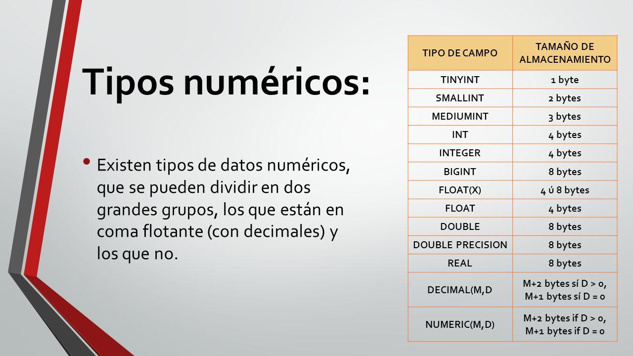 Tipos numéricos: Existen tipos de datos numéricos, que se pueden dividir en dos grandes grupos, los que están en coma flotante (con decimales) y los que no.