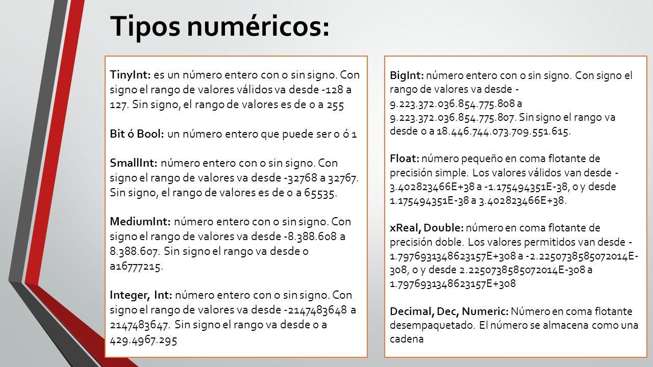 Tipos numéricos: TinyInt: es un número entero con o sin signo. Con signo el rango de valores válidos va desde -128 a 127. Sin signo, el rango de valor