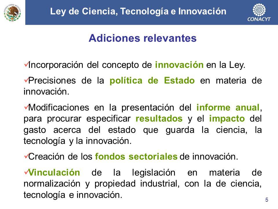 Adiciones relevantes Incorporación del concepto de innovación en la Ley. Precisiones de la política de Estado en materia de innovación. Modificaciones