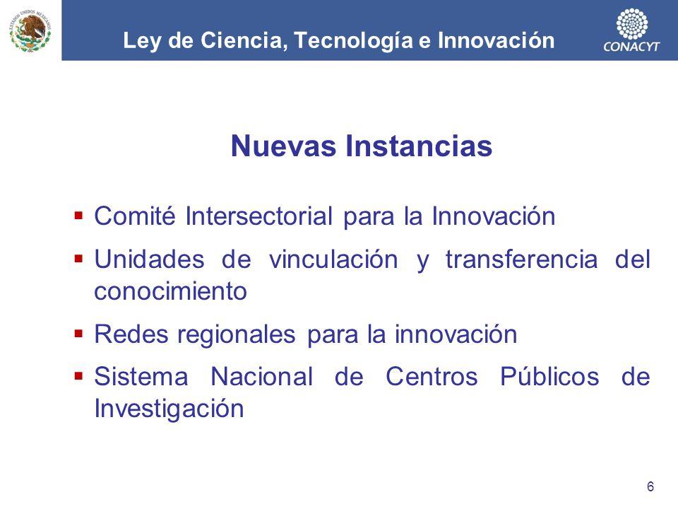 Nuevas Instancias Comité Intersectorial para la Innovación Unidades de vinculación y transferencia del conocimiento Redes regionales para la innovación Sistema Nacional de Centros Públicos de Investigación 6