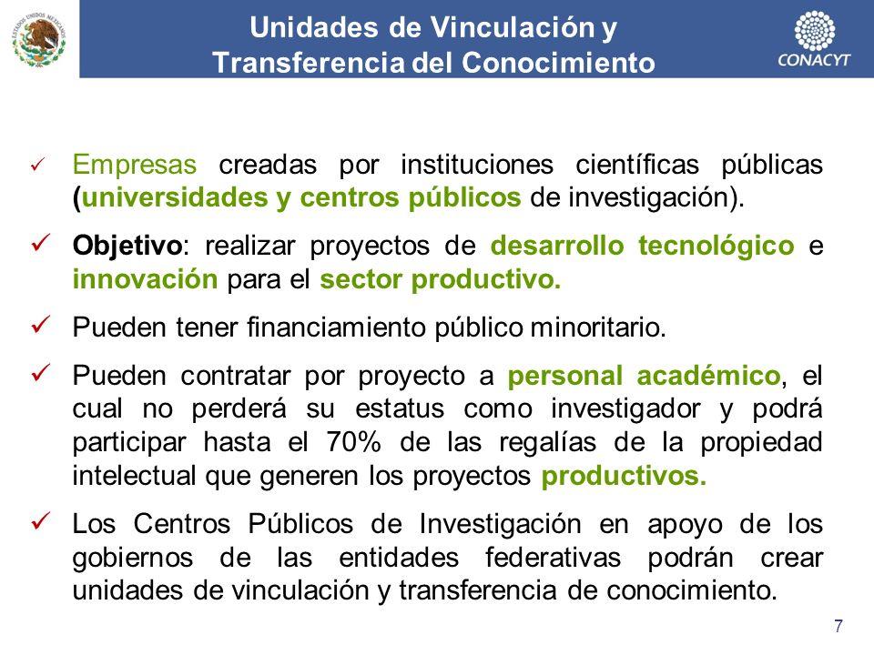 Unidades de Vinculación y Transferencia del Conocimiento Empresas creadas por instituciones científicas públicas (universidades y centros públicos de investigación).