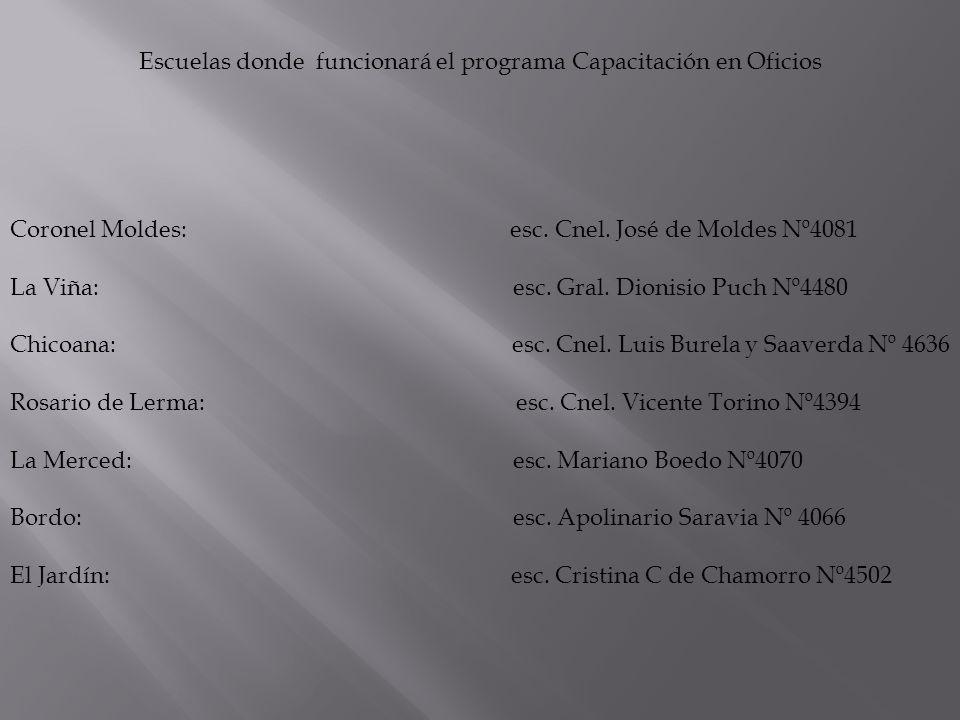 El dictado de las clases de capacitación será de la siguiente manera: Clases de Capacitación: Lunes y Viernes de 19:00 a 22:00 hs Charlas formativas: Martes y Jueves de 19:00 a 22:00 hs El programa se extiende desde el 08 de Abril de 2013 al 06 de Septiembre de 2013.