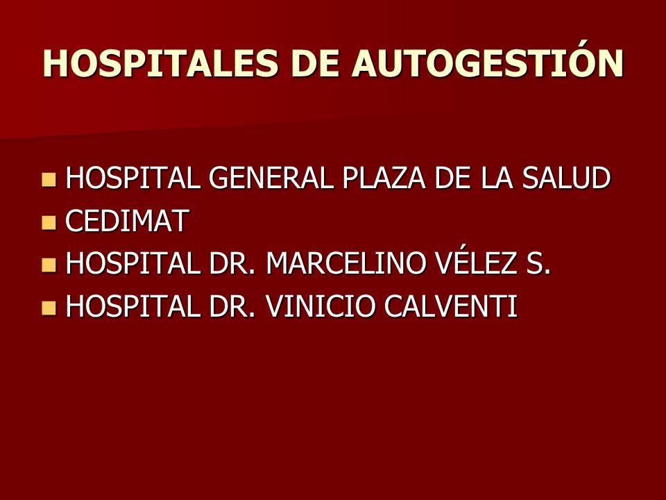 HOSPITALES DE AUTOGESTIÓN HOSPITAL GENERAL PLAZA DE LA SALUD HOSPITAL GENERAL PLAZA DE LA SALUD CEDIMAT CEDIMAT HOSPITAL DR. MARCELINO VÉLEZ S. HOSPIT