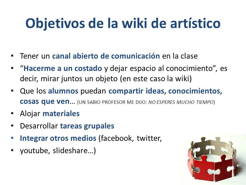 Objetivos de la wiki de artístico Tener un canal abierto de comunicación en la clase Hacerme a un costado y dejar espacio al conocimiento, es decir, m