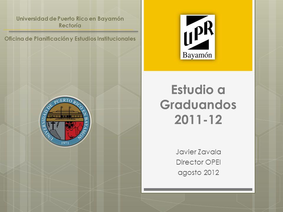 Estudio a Graduandos 2011-12 Javier Zavala Director OPEI agosto 2012 Universidad de Puerto Rico en Bayamón Rectoría Oficina de Planificación y Estudios Institucionales