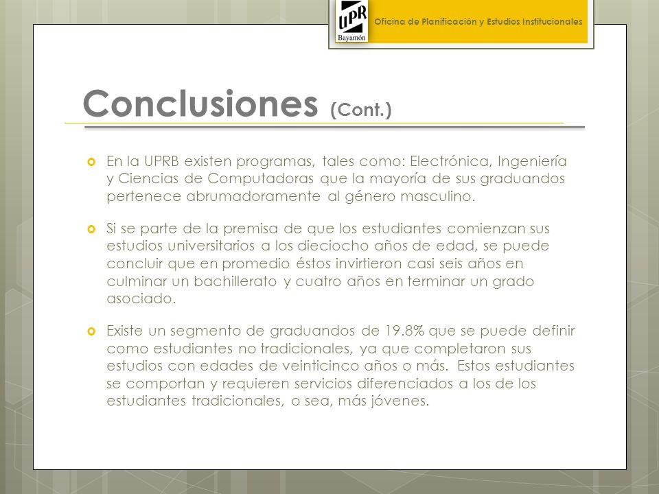 Conclusiones (Cont.) En la UPRB existen programas, tales como: Electrónica, Ingeniería y Ciencias de Computadoras que la mayoría de sus graduandos pertenece abrumadoramente al género masculino.