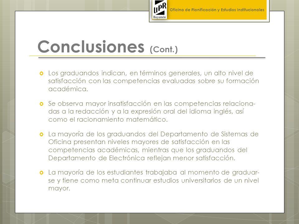 Conclusiones (Cont.) Los graduandos indican, en términos generales, un alto nivel de satisfacción con las competencias evaluadas sobre su formación académica.