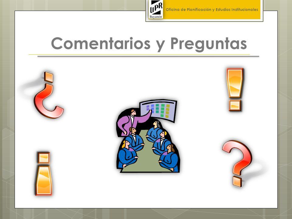 Comentarios y Preguntas Oficina de Planificación y Estudios Institucionales