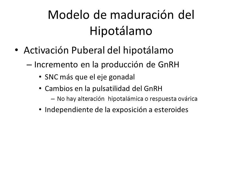 Modelo de maduración del Hipotálamo Activación Puberal del hipotálamo – Incremento en la producción de GnRH SNC más que el eje gonadal Cambios en la pulsatilidad del GnRH – No hay alteración hipotalámica o respuesta ovárica Independiente de la exposición a esteroides