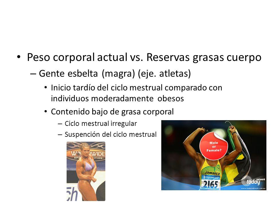 Peso corporal actual vs. Reservas grasas cuerpo – Gente esbelta (magra) (eje. atletas) Inicio tardío del ciclo mestrual comparado con individuos moder