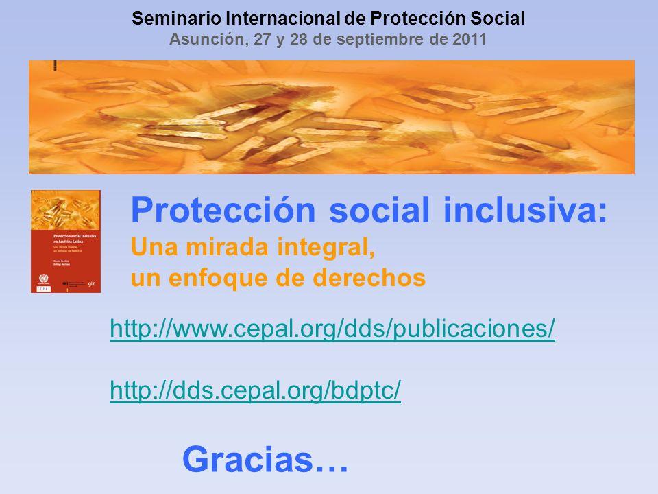 Protección social inclusiva: Una mirada integral, un enfoque de derechos Gracias… http://www.cepal.org/dds/publicaciones/ http://dds.cepal.org/bdptc/ Seminario Internacional de Protección Social Asunción, 27 y 28 de septiembre de 2011