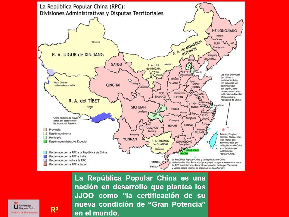 R3R3 La República Popular China es una nación en desarrollo que plantea los JJOO como la certificación de su nueva condición de Gran Potencia en el mu