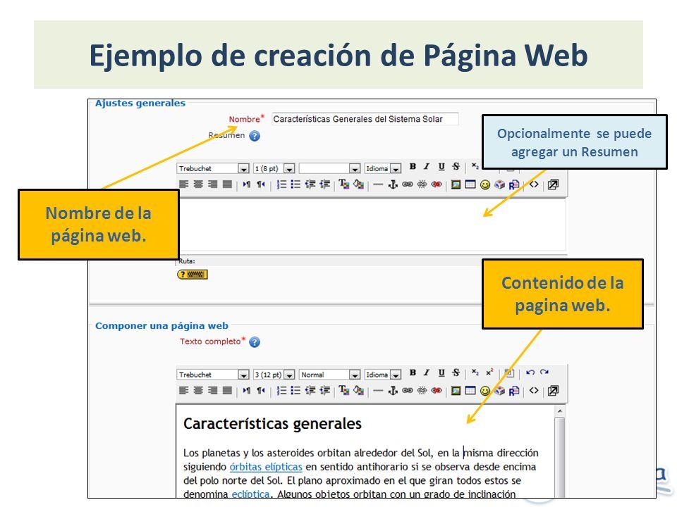 Ejemplo de creación de Página Web Nombre de la página web.