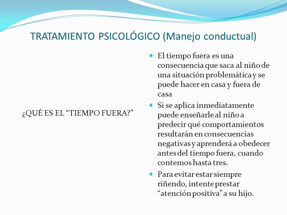 TRATAMIENTO PSICOLÓGICO (Manejo conductual) ¿QUÉ ES EL TIEMPO FUERA.