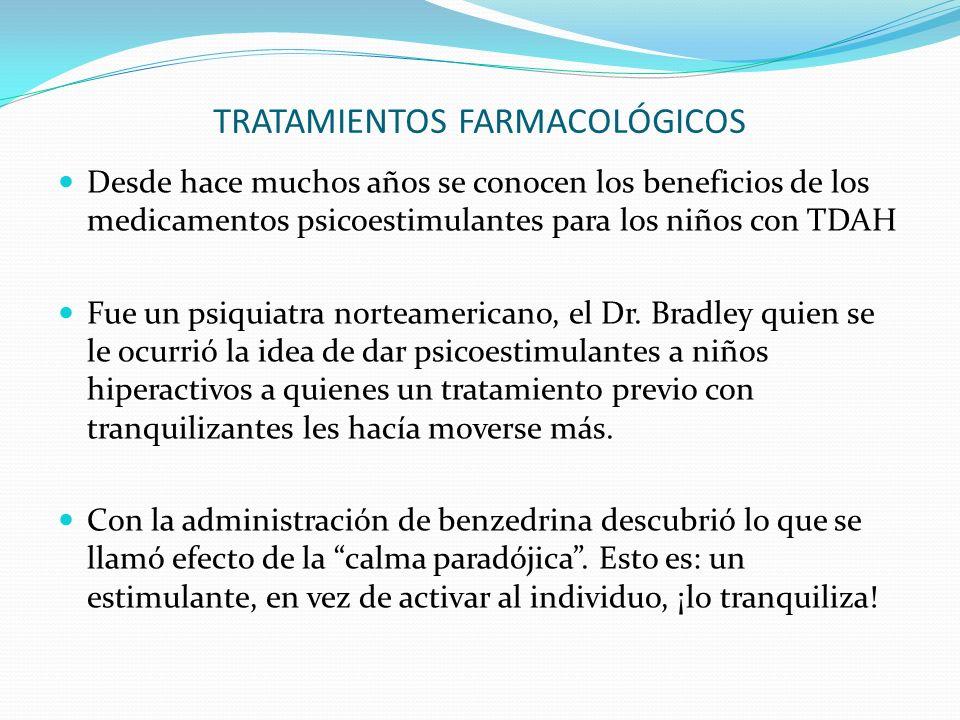 TRATAMIENTOS FARMACOLÓGICOS Desde hace muchos años se conocen los beneficios de los medicamentos psicoestimulantes para los niños con TDAH Fue un psiquiatra norteamericano, el Dr.