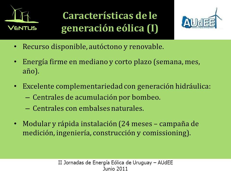 Características de le generación eólica (I) Recurso disponible, autóctono y renovable.