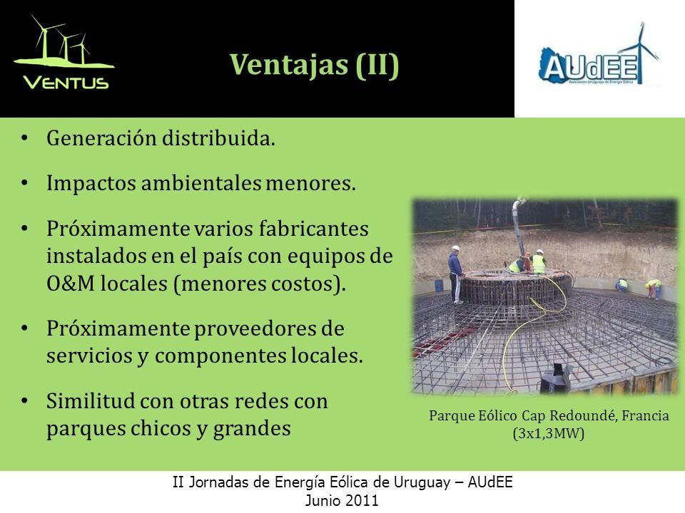 Ventajas (II) Generación distribuida.Impactos ambientales menores.