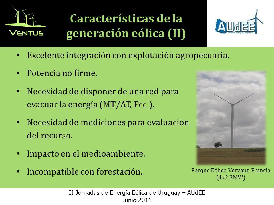 Características de la generación eólica (II) Excelente integración con explotación agropecuaria.