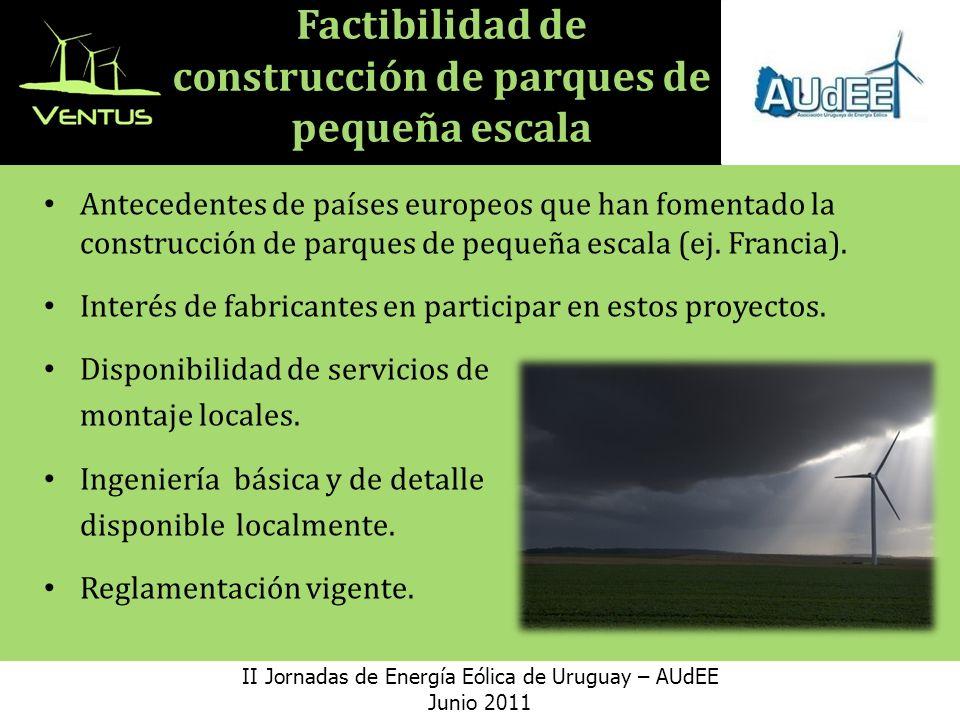 Factibilidad de construcción de parques de pequeña escala Antecedentes de países europeos que han fomentado la construcción de parques de pequeña escala (ej.