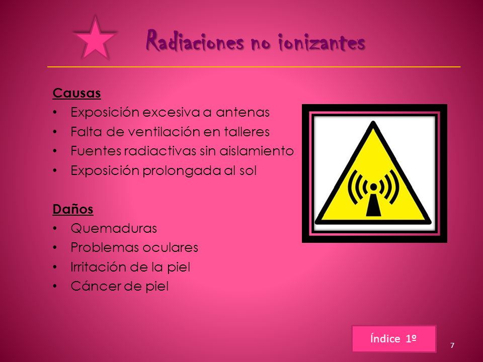 Radiaciones no ionizantes Causas Exposición excesiva a antenas Falta de ventilación en talleres Fuentes radiactivas sin aislamiento Exposición prolong