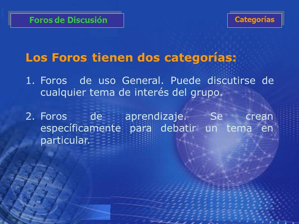 Los Foros tienen dos categorías: 1.Foros de uso General. Puede discutirse de cualquier tema de interés del grupo. 2.Foros de aprendizaje. Se crean esp