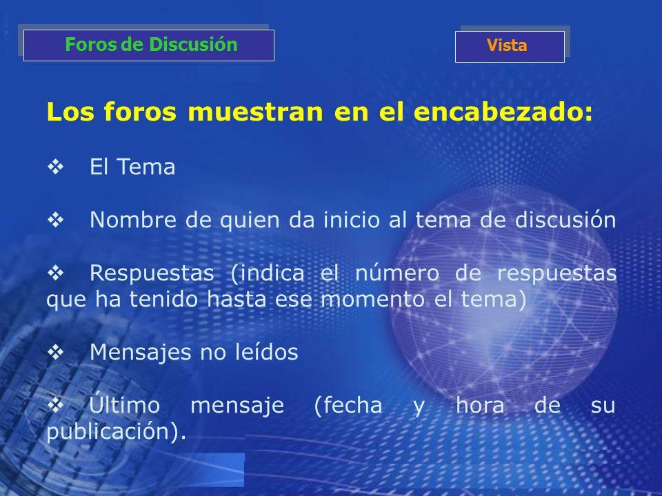 Los foros muestran en el encabezado: El Tema Nombre de quien da inicio al tema de discusión Respuestas (indica el número de respuestas que ha tenido h