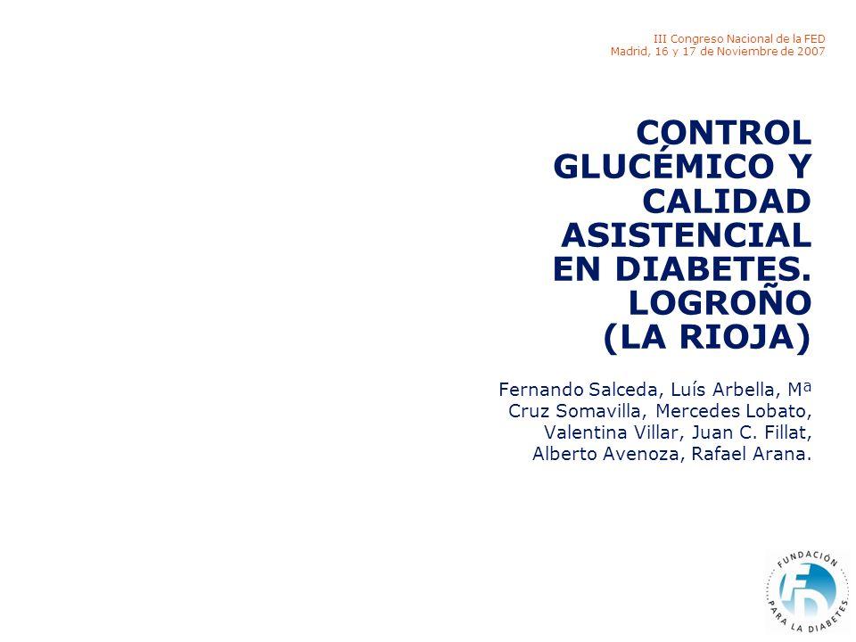 III Congreso Nacional de la FED Madrid, 16 y 17 de Noviembre de 2007 CONTROL GLUCÉMICO Y CALIDAD ASISTENCIAL EN DIABETES.