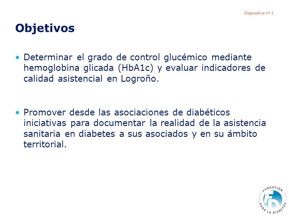 Diapositiva nº 2 Objetivos Determinar el grado de control glucémico mediante hemoglobina glicada (HbA1c) y evaluar indicadores de calidad asistencial en Logroño.