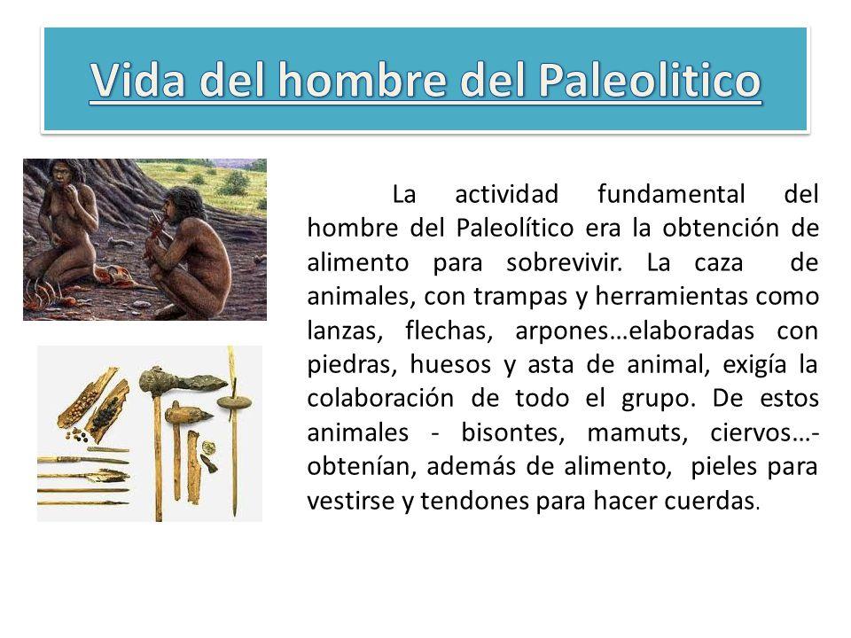 La actividad fundamental del hombre del Paleolítico era la obtención de alimento para sobrevivir. La caza de animales, con trampas y herramientas como