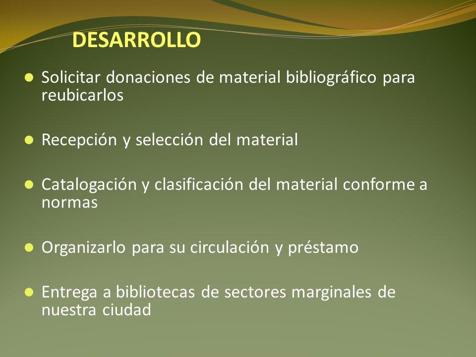 Solicitar donaciones de material bibliográfico para reubicarlos Recepción y selección del material Catalogación y clasificación del material conforme