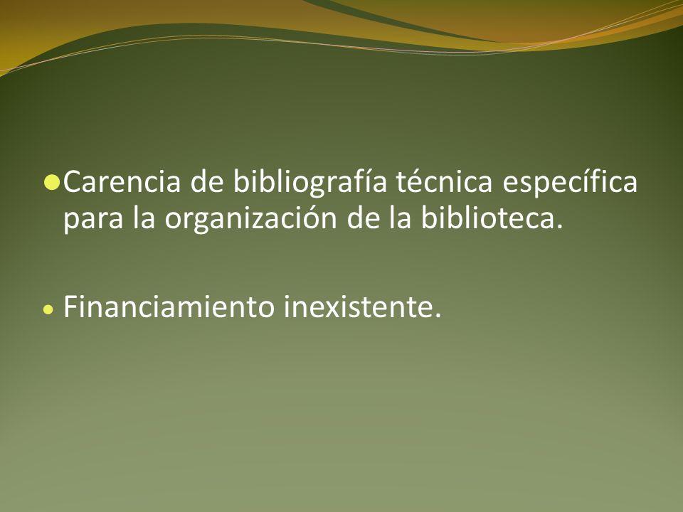 Carencia de bibliografía técnica específica para la organización de la biblioteca. Financiamiento inexistente.
