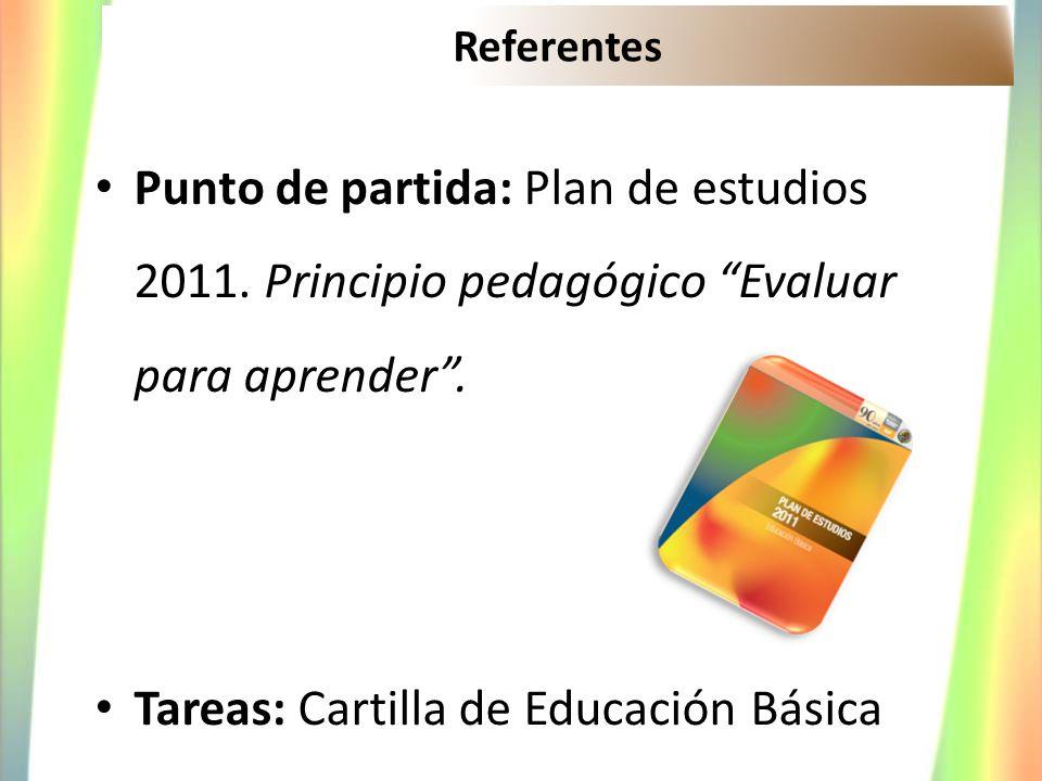 Referentes Punto de partida: Plan de estudios 2011. Principio pedagógico Evaluar para aprender. Tareas: Cartilla de Educación Básica