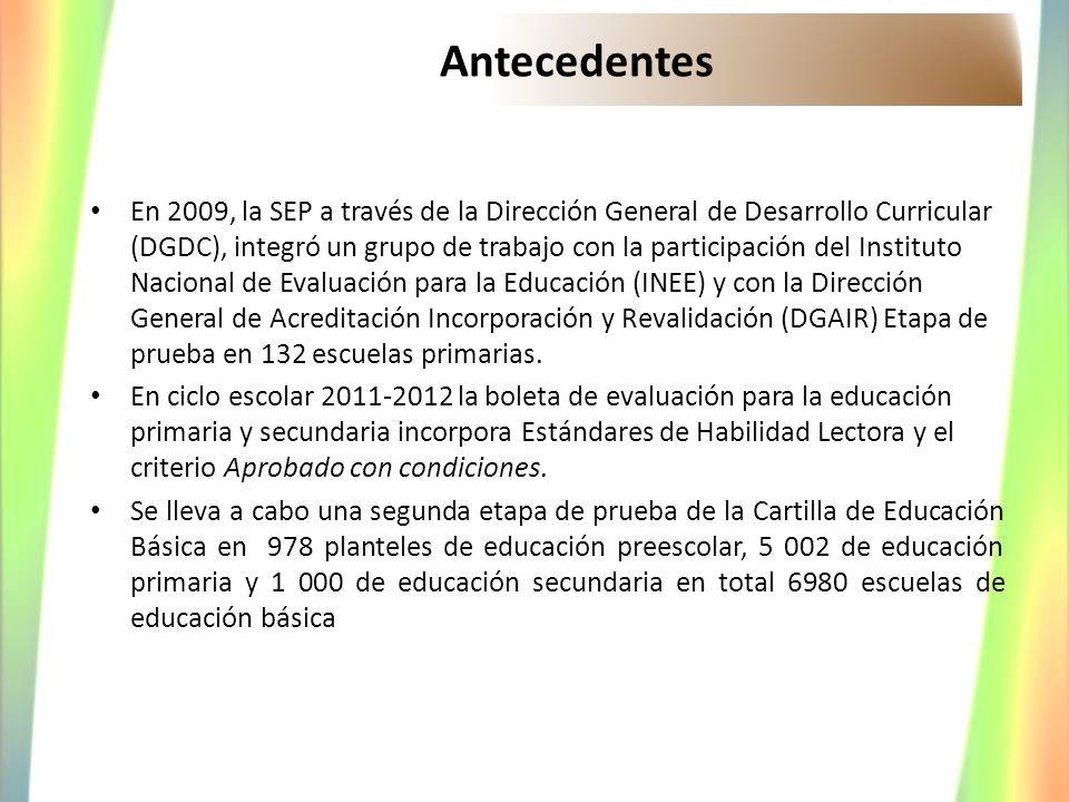 Antecedentes En 2009, la SEP a través de la Dirección General de Desarrollo Curricular (DGDC), integró un grupo de trabajo con la participación del In