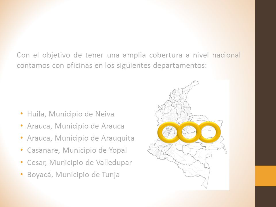Con el objetivo de tener una amplia cobertura a nivel nacional contamos con oficinas en los siguientes departamentos: Huila, Municipio de Neiva Arauca, Municipio de Arauca Arauca, Municipio de Arauquita Casanare, Municipio de Yopal Cesar, Municipio de Valledupar Boyacá, Municipio de Tunja