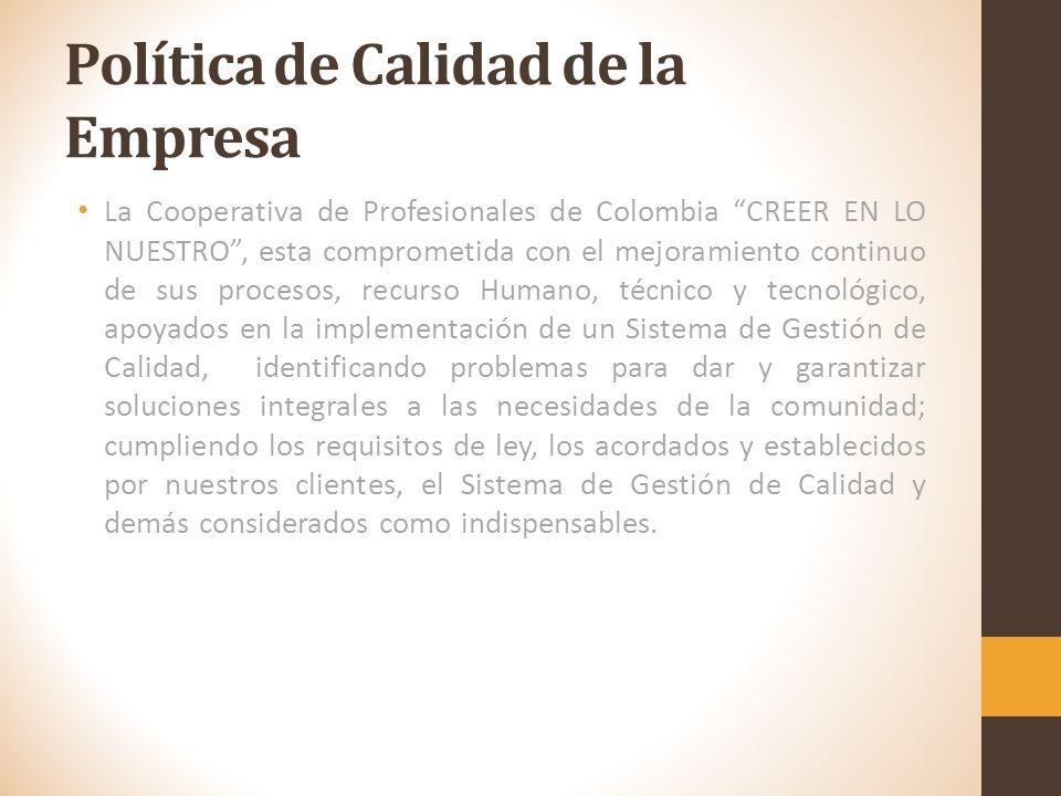 Visión La Cooperativa de profesionales de Colombia