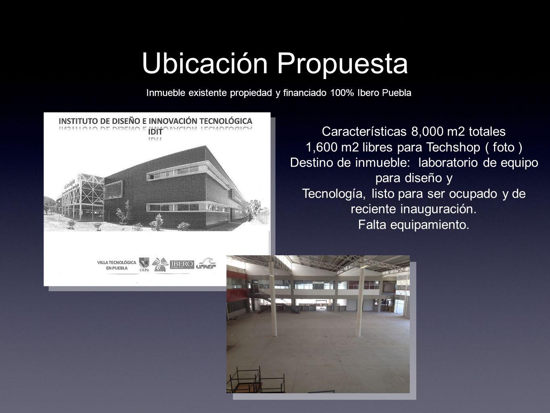 Ubicación Propuesta Inmueble existente propiedad y financiado 100% Ibero Puebla Características 8,000 m2 totales 1,600 m2 libres para Techshop ( foto