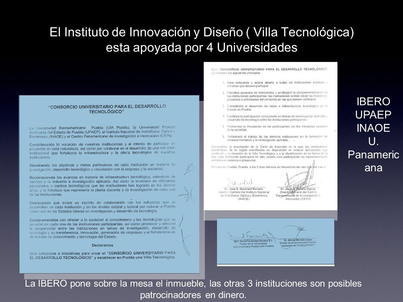 El Instituto de Innovación y Diseño ( Villa Tecnológica) esta apoyada por 4 Universidades La IBERO pone sobre la mesa el inmueble, las otras 3 institu