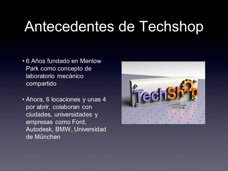 Antecedentes de Techshop 6 Años fundado en Menlow Park como concepto de laboratorio mecánico compartido Ahora, 6 locaciones y unas 4 por abrir, colabo