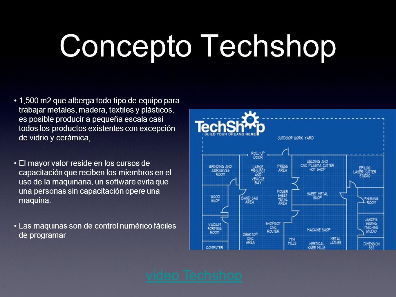 Concepto Techshop 1,500 m2 que alberga todo tipo de equipo para trabajar metales, madera, textiles y plásticos, es posible producir a pequeña escala c