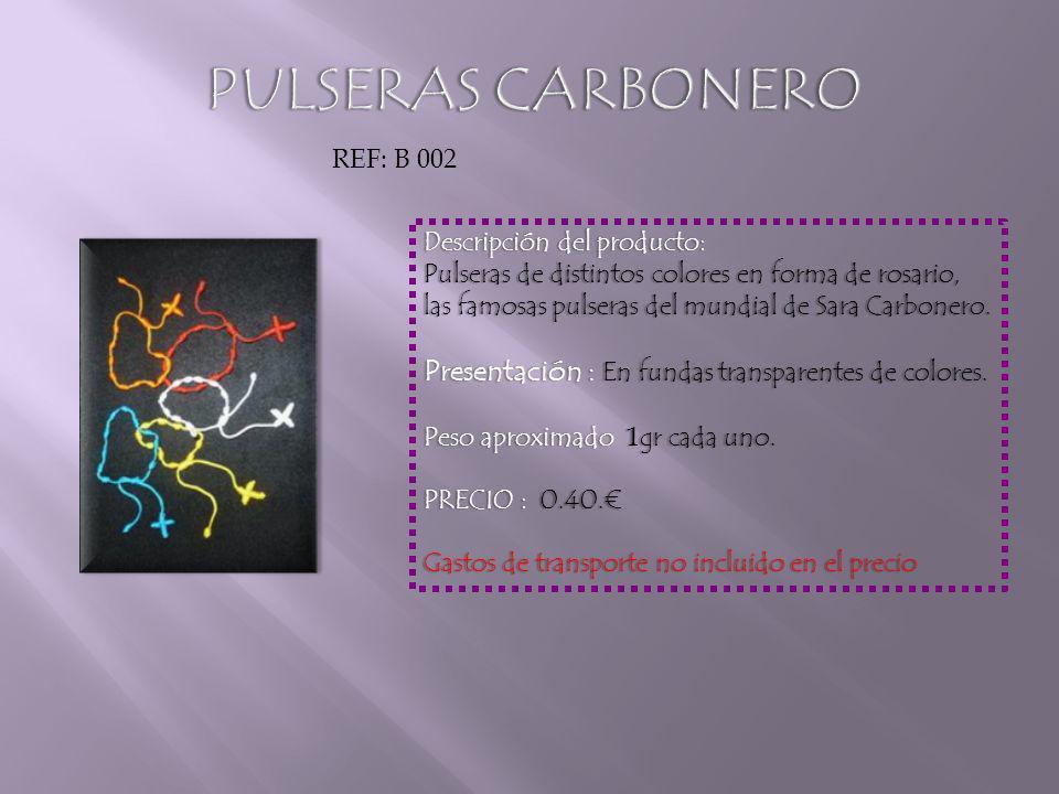 Descripción del producto:Descripción del producto: Pulseras de distintos colores en forma de rosario, las famosas pulseras del mundial de Sara Carbonero.