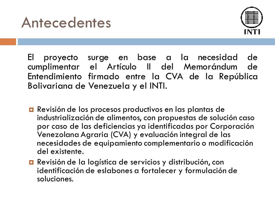 Antecedentes El proyecto surge en base a la necesidad de cumplimentar el Artículo II del Memorándum de Entendimiento firmado entre la CVA de la República Bolivariana de Venezuela y el INTI.