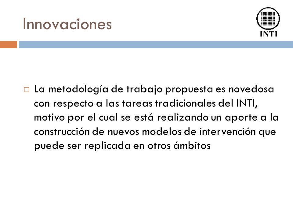 Innovaciones La metodología de trabajo propuesta es novedosa con respecto a las tareas tradicionales del INTI, motivo por el cual se está realizando un aporte a la construcción de nuevos modelos de intervención que puede ser replicada en otros ámbitos